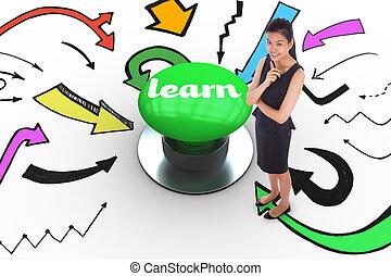 学びなさい, に対して, ディジタル方式で生成された, 緑, 押しボタン