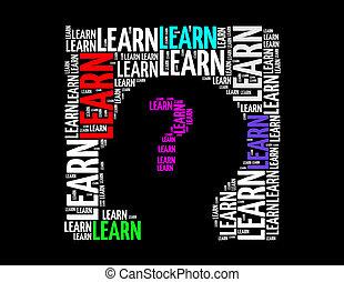 学びなさい, テキスト, コラージュ, 作曲された, 中に, ∥, 形, の, 人間の頭