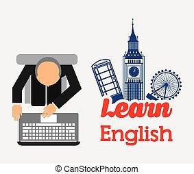 学びなさい, 英語, デザイン
