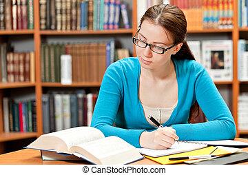 学习, 女孩, 图书馆
