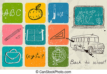 学校に戻って, 手, 図画, poster.