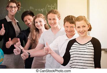 学校の クラス, 教師, やる気を起こさせる, 生徒