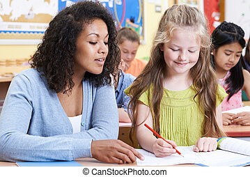 学校の クラス, 生徒, 女性, 基本, 教師