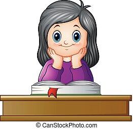 学校の 女の子, 教科書, 机