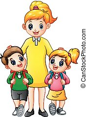 学校の 子供, ある, ∥(彼・それ)ら∥, escorted, お母さん, 漫画