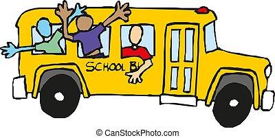 学校の 子供, イラスト, ベクトル, bus., 乗馬