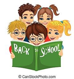 学校の 子供, グループ, テキスト, 背中, 本, 緑, 読書