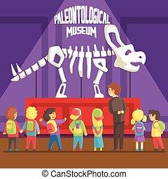 学校の 子供, スケルトン, 古生物学, 博物館, triceratops, 次に, groop