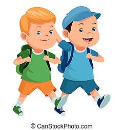 学校の 子供, バックパック, 微笑