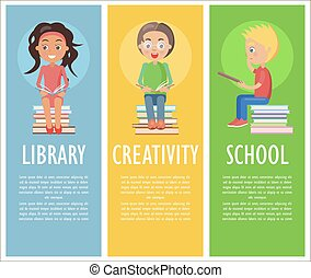 学校の 子供, 創造性, 読書, 図書館