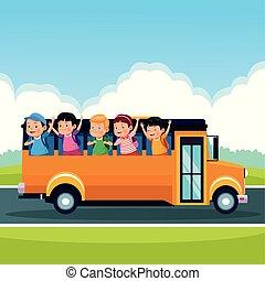 学校の 子供, 背中, 漫画