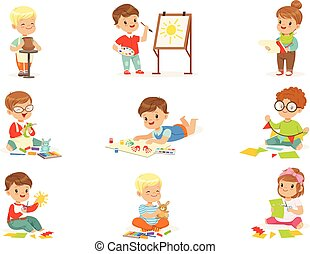 学校の 子供, 芸術, 仕事, 活動, paper., わずかしか, 切断, パテ, 創造的, 絵, クラス, 別