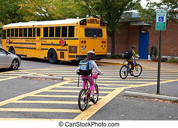 学校の 子供, internation, 歩きなさい, 自転車, biking, 日