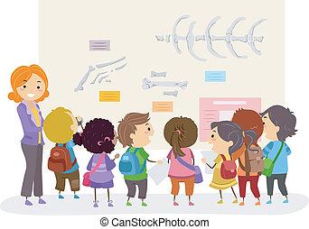学校の 子供, stickman, 博物館, 旅行