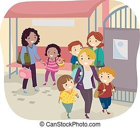 学校の 子供, stickman, 母, 区域, 待つこと, 取って来なさい