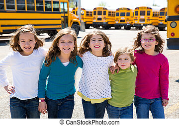 学校公共汽车, 女孩, 走, 朋友, 行