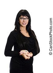 学校教師, ∥で∥, glasses., 隔離された, 上に, white.