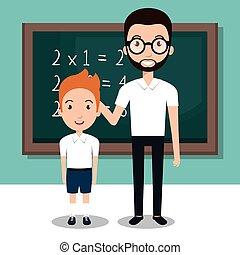 学校教師, 学生, アイコン