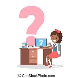学校机, ユニフォーム, 女の子, モデル