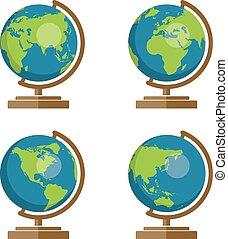 学校, アイコン, イラスト, ベクトル, コレクション, 地球儀, 地球, 地理