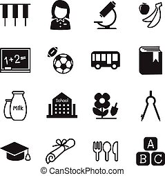 学校, アイコン, シンボル, イラスト, 幼稚園, ベクトル, 2, 教育