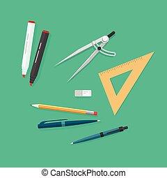 学校, アイコン, セット, 勉強しなさい, 隔離された, 項目, オブジェクト, 教育, 道具