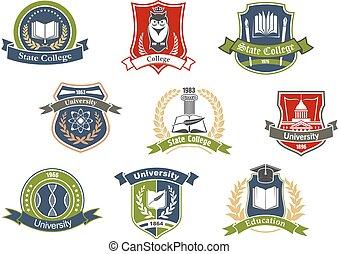 学校, アイコン, 大学, 大学, レトロ, heraldic