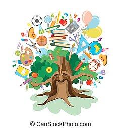学校, アイコン, 木,  -, 背中, 教育