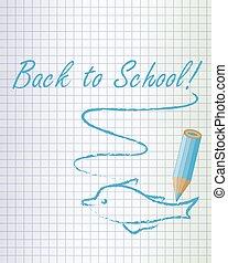 学校, イルカ, 背中, 背景