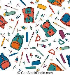 学校, カラフルである, ベクトル, ペーパー, 壁紙, パターン, 項目, 包むこと, 作られた, 文房具, items., ∥など∥., 手, 引かれる, seamless, 背景, イラスト