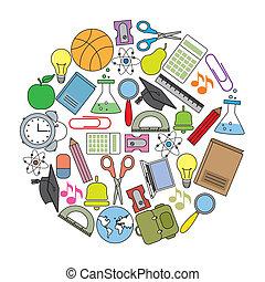 学校, カード, アイコン
