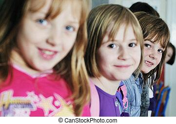 学校, グループ, 子供, 幸せ