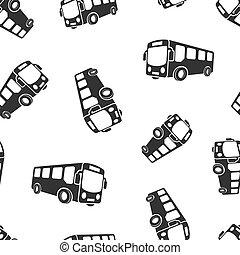 学校, コーチ, ビジネス, バス, concept., seamless, イラスト, 隔離された, バックグラウンド。, ベクトル, パターン, autobus, 白, 輸送, アイコン