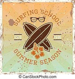 学校, サーフィン, 紋章, 有色人種, 型, ベクトル
