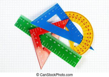 学校, シート, 定規, 分度器, education., mathematics., 項目, ケージ