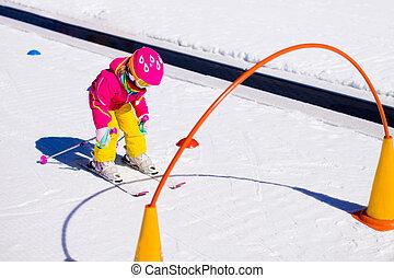 学校, スキー, 子供