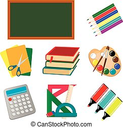 学校, セット, アイコン, イラスト, ベクトル, 教育