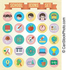 学校, セット, アイコン