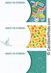 学校, セット, 旗