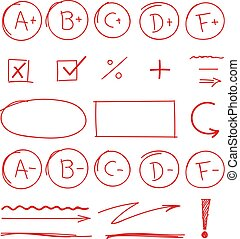 学校, セット, 等級, 結果, マーカー, ハイライト, 赤