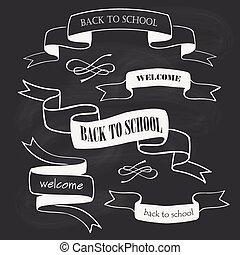 学校, セット, 背中, 黒板, リボン, バッジ