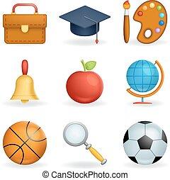 学校, セット, 芸術, アイコン, 隔離された, イラスト, シンボル, 現実的, ベクトル, デザイン, 線, 教育, 3d
