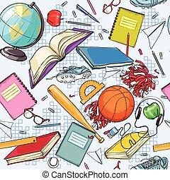 学校, デザイン, 背中