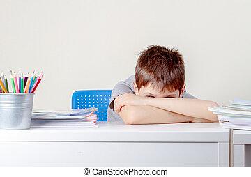 学校, ノート, 混乱, 悲しい, 本, 山, 男生徒