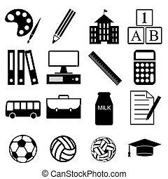 学校, ベクトル, セット, アイコン