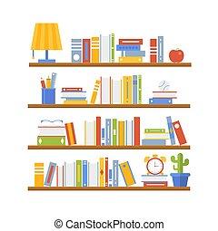 学校, ポスター, 背中, イラスト, ベクトル, テンプレート, 本棚