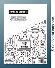 学校, ポスター, -, 背中, デザイン, a4, テンプレート, パンフレット, 線