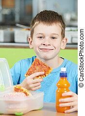 学校, マレ, 食べること, 不健康, モデル, 昼食, 生徒, テーブル, カフェテリア, パックされた