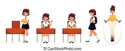 学校, モデル, 歩くこと, 漫画, 跳躍, 女の子, 地位