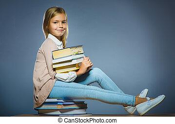 学校, モデル, concept., 手, 本, 保有物, 女の子, 本